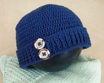 Child handmade cotton crochet beanie with buttoned cuff, pure cotton custom made, made to order.
