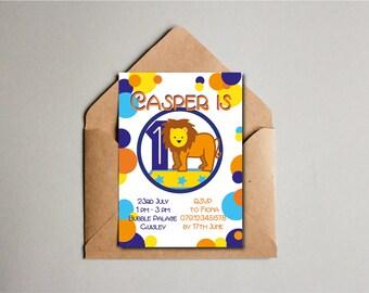 Spotty Lion Birthday Invitation, Lion Printable, 1st Birthday, Children' Birthday Party Invite, Kids Birthday Invite, Custom Printable