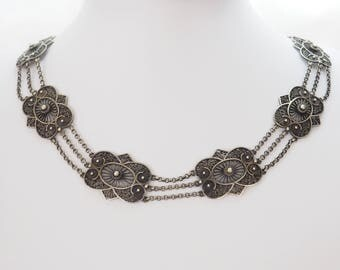 Beautiful filigree vintage necklace silver
