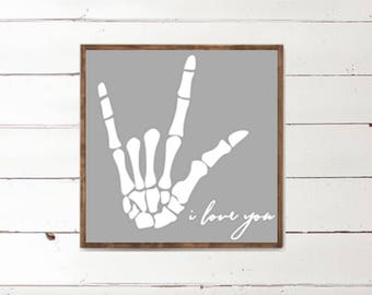 I love you Wood Sign - Sign language - Hand Bone - Wood Signs - Wooden Signs - Wall Decor - Wall Art - Custom Wood Signs - Wall Decor - Home