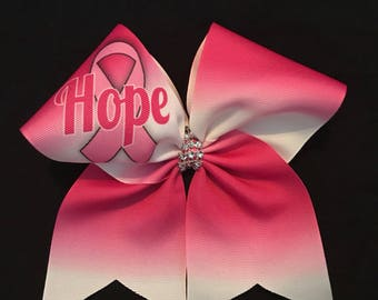 October Hope Cheer Bow - Cheer Bow - Pink Bow - Hope with Pink Ribbon Cheer Bow