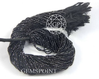 Natural Black Spinel 2mm Faceted Roundels, 13 inch Strand, Black Spinel Rondelle Beads (R-SPL-0006)