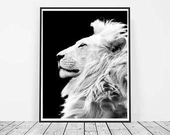 Lion Print, Digital Download, Printable Art, Lion Art, Animal Print