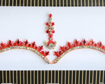 Red Color Bridal Forehead Bindi Stickers, Bindis,Red Wedding Bindis,Bollywood Bindi,Long Red Bindis,Self Adhesive Stickers