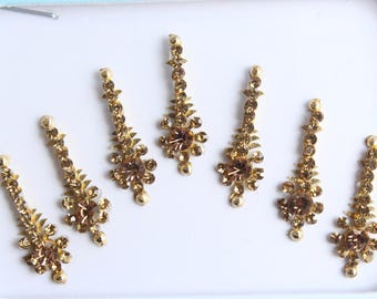 7 Gold Long Bindis Face Jewels,Wedding Bindis,Stone Bindis,Gold Bindis,Bindis,Bollywood Bindis, Long Bindis, Self Adhesive Stickers