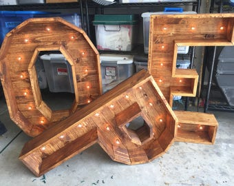 LARGE Indoor/Outdoor Custom Wood Letter with Bulbed String Lights