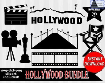 Hollywood svg, movie star svg, Hollywood Clipart, digital download, dxf files, svg files, svg files for silhouette, svg files for cricut,
