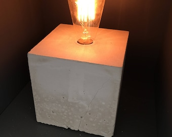 2 Modern Concrete Lamps with Edison bulb and Dimmer switch