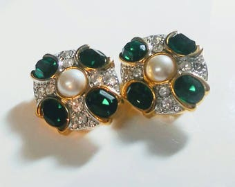 Signed Marvella Vintage Green Rhinestone & Pearl Gold Tone Clip On Earrings