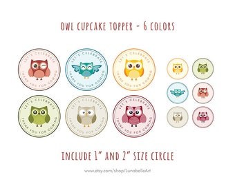 Colorful Owl Birthday Cupcake Topper - Colorful Owl Cupcake Topper - Colorful Cupcake Topper - Owl Cupcake Topper - Cupcake Topper