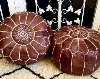 Set of 2 Moroccan Pouf natural Leather pouf Floor pouf Leather Ottoman Moroccan Ottoman Brown pouf Natural leather pouf