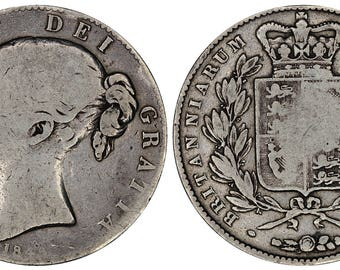 1845 Victoria crown silver coin of Great Britain