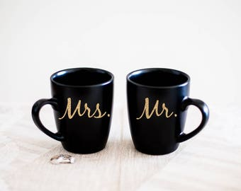 Personalized Morning After Coffee Mugs for Just Married Couples - Mr and Mrs in any Combination! Bride and Groom Gift - Black Mugs - TGFS004