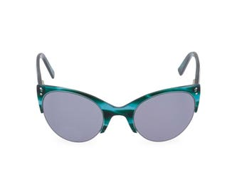 ELLA Teal Ocean Blue cat eye sunglasses classic vintage upswept 1950s late 1940s style  Remodelled from original found pair