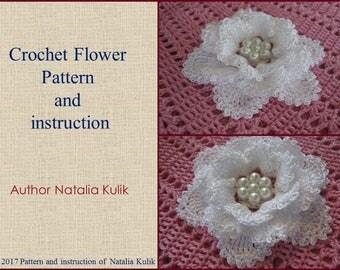 Crochet pattern flower, PDF Pattern 3D Rose, Pattern Flower Applique