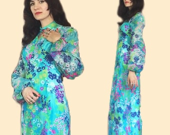Earth Angel Garden Poet Sleeve Psych Maxi Dress 60s