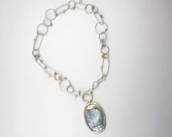 Polka dot dreams.... Sterling silver rustic bezel hemimorphite necklace