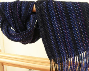 Blue/Black Chenille  Scarf