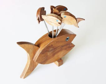 Mid Century Wooden Fish Serving Fork Set