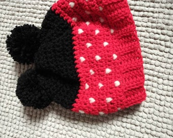 Mickey Mouse Thr-ouque  - crochet winter hat - Disney inspired- Adult size