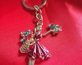 Flower Lady Key ring