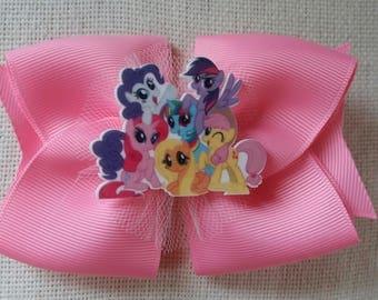 Handmade My Little Pony accessory, clip, hair bow, rosette.