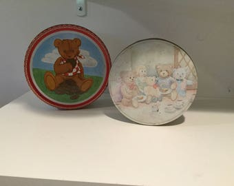 Vintage teddy bear tins