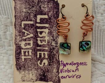 Copper and abalone earrings with hypoallergenic niobium earring hooks