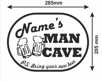 Personalised man cave sticker, cool personalised decal for doors and windows