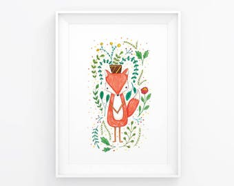 Floral Fox: Children's Art Print / Nursery / A5 Watercolour Print / Pencil / Floral Series