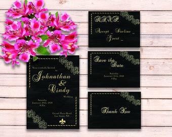 Vintage Wedding Invitation - Gold Wedding Invitations Suite - Black Gold Wedding Invitation - PDF Wedding Invitation -  Printable Invitation