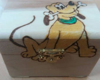Pluto disney-style wooden treasure chest gift jewellery box - can be personalised if required
