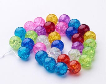 Mixed 12 mm glass Crackle beads