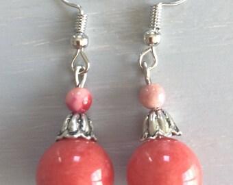 Coral Jade bead earrings