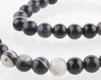 Natural stone dyed black Agate beads