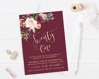 St Invitations Etsy - 21st birthday invitations gold coast