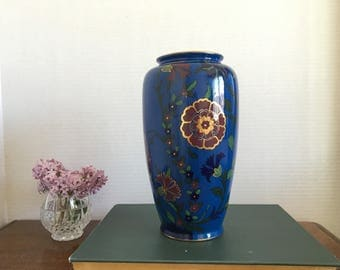 Antique 1920's British Art Deco Wilton Ware baluster vase | Blue Floral Vase | Antique Vase | Blue Decor | Vintage Vase