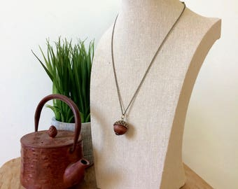 Acorn Charm Necklace - Handmade