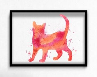 Watercolor cat canvas art print poster