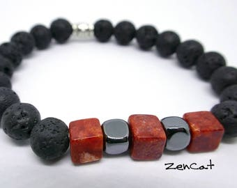Men  Stretch Bracelet with Red Coral, Hematite and Black Lava Beads