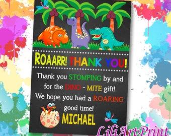 Dinosaur Thanks card, Dinosaur birthday thanks, dinosaur birthday party, Digital file