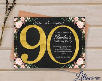 90th Birthday Invitation, Gold Invitation,  Gold Glitter Birthday invite, Floral Birthday Invitation, Digital file 32