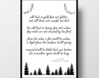 Printable Quote - JRR TOLKIEN Poem, Fellowship Of The Ring, Poetry, Quote Print, Typography Print,  Home Decor, Inspire, Book Quote