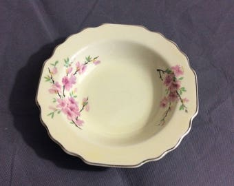 Vintage Peach Blossom Lido W.S. George Canarystone Small Ceramic Bowl Pink Floral Design USA