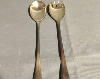 "Vintage Silver Serving Utensils Spoon and Pronged Spoon 9 3/8"" long England"
