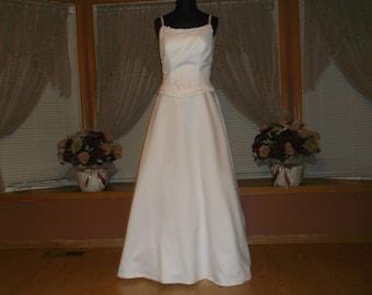 White/Rhinestone Beaded A-line Wedding Gown