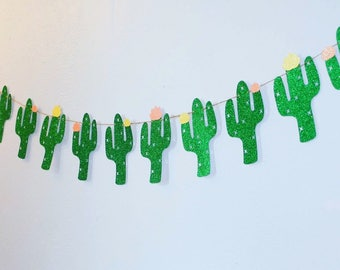 Cactus Glitter Banner | Fiesta Party Decor, First Fiesta Banner, Taco Bout A Party, Palm Springs Party, Southwestern Decor, Cinco De Mayo