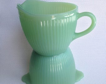 RESERVED - Ms. Tobin Jadite  Sugar bowl and creamer set