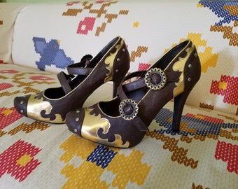Steampunk Heels - Brown & Gold - Size 10