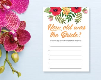 How Old was the Bride? Bridal Shower Game. Instant Download. Printable Bridal Shower Game. Yellow Flowers. Red and Orange. - 02